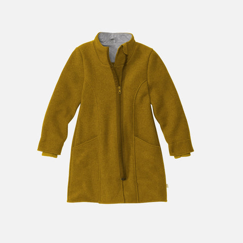 Organic Boiled Wool Long Kids Coat- Gold