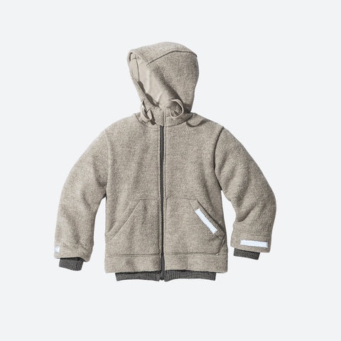 Organic Boiled Wool Kids Jacket - Grey - 6-7y