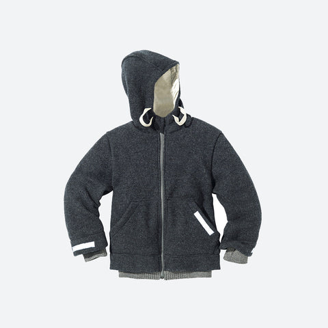 Organic Boiled Wool Kids Zip Jacket - Anthracite - 4-10y