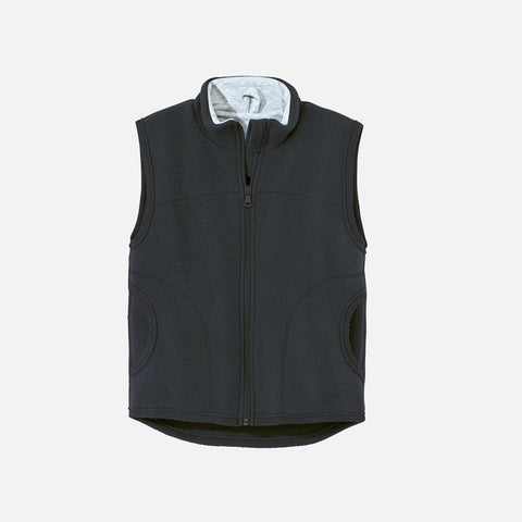 Organic Boiled Merino Wool Vest - Anthracite - 4-10y