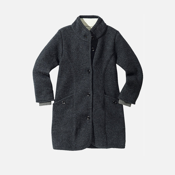 Organic Boiled Wool Kids Coat - Anthracite - 4-10y