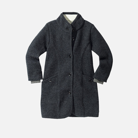 Organic Boiled Wool Kids Coat - Anthracite - 4-6y