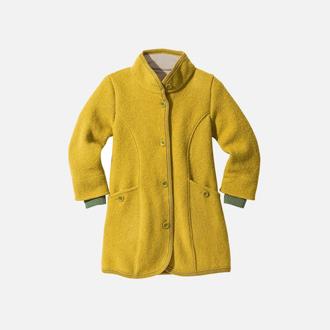 Organic Boiled Wool Kids Coat - Curry - 4-10y