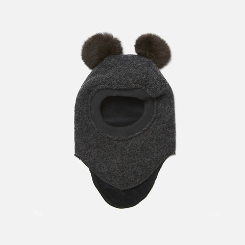 Wool felt Pom Pom Balaclava - Dark Grey/Brown - 0-6y