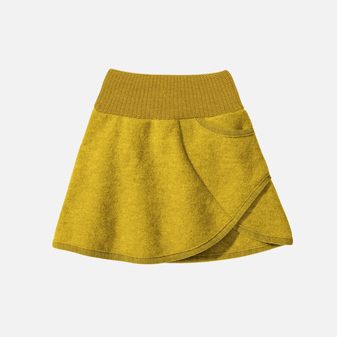 Organic Boiled Wool Skirt - Curry