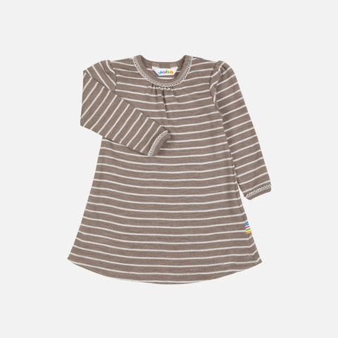 Merino Wool/Silk A Line Dress - Walnut Stripe - 9m-6y
