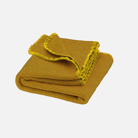 Organic Merino Melange Baby Blanket - Curry/Gold