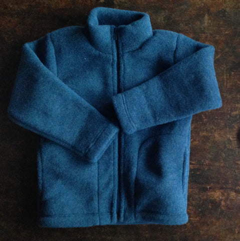 100% supersoft Organic merino wool fleece jacket - Saphire Blue - 3y-8y