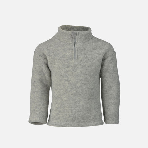 Organic Merino Wool supersoft Fleece Zipped Pullover  - Light Grey - 6m-5y
