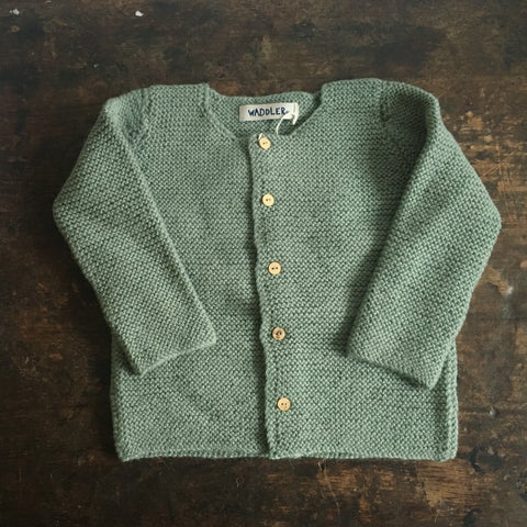 Hand Knitted Alpaca Graca Cardigan - Almond - 3-8y