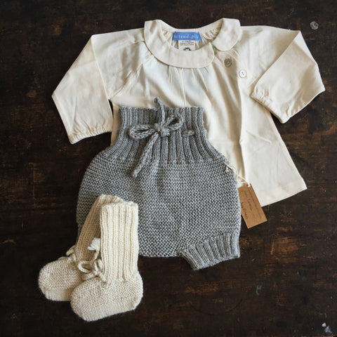 Hand knitted Alpaca Baby Bloomers - Light Grey