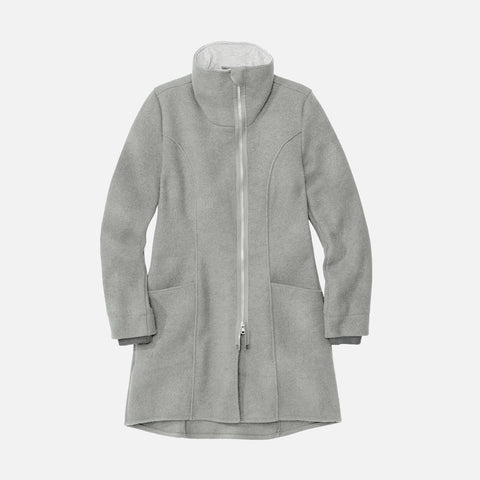 Women's Boiled Wool Coat - Grey