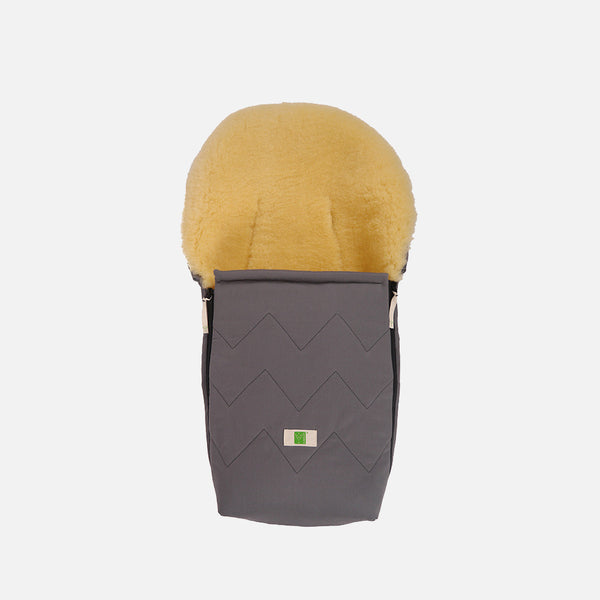 Organic Cotton/Sheepskin Car Seat/Carry Cot Footmuff - Anthracite