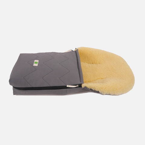 Organic Cotton/Sheepskin car seat / carry cot Footmuff - Anthracite