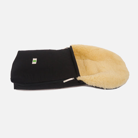 Organic Cotton/Sheepskin Car Seat/Carry Cot Footmuff - Black