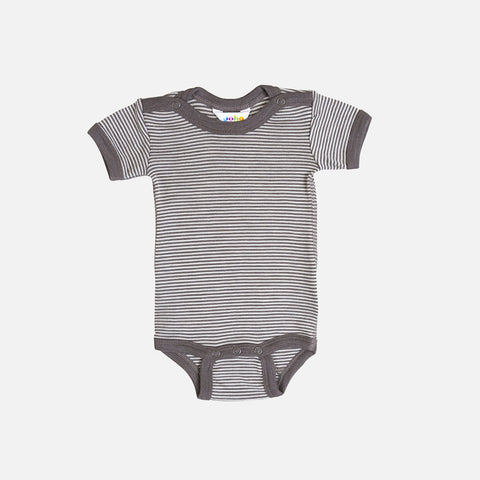 Merino Wool/Silk Stripe Body Short Sleeves - Iron Brown - 1m-4y