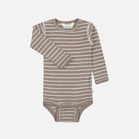 Merino Wool/Silk LS Body - Walnut Stripe - 0m-4y