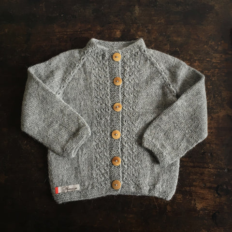Hand-knitted Alpaca Grethe Cardigan - Light Grey - 3m-5y