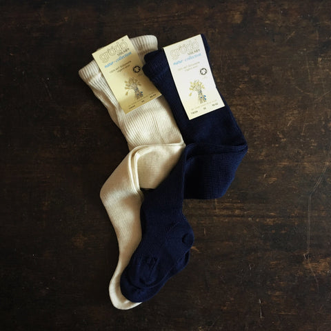 100% Organic Wool Baby Rib Tights - Natural or Navy