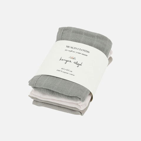 Organic Cotton Muslins - Lime Stone - Set of 3