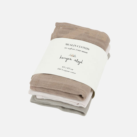 Organic Cotton Muslins - Rose Dust - Set of 3
