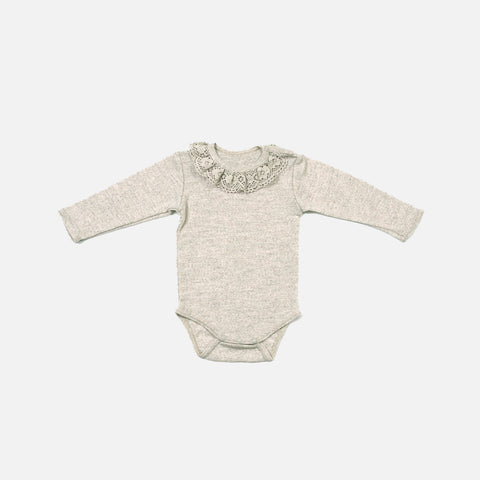 Merino Body with Lace Collar - Camel - 3m-2y