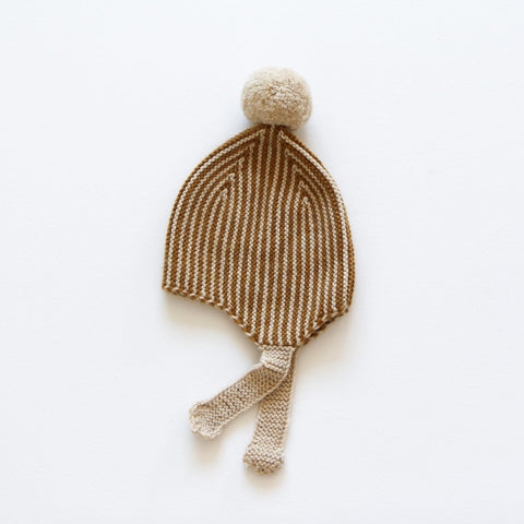 Hand-Knit Merino Wool Divna Hat - Ginger - 0-12m