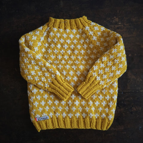 Hand-Knit Sweater Knud - Curry