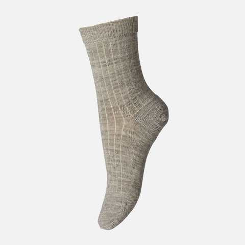 Wool Rib Socks - Beige/Grey
