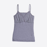 Women's merino wool/silk strap vest Grey or Natural