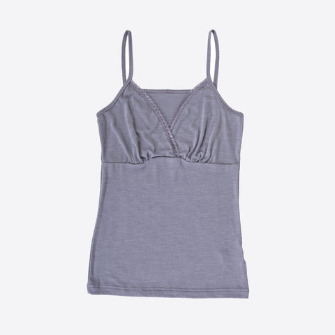 Ladies merino wool/silk strap vest Grey or Natural