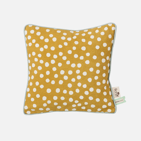 Organic Cotton Dots Cushion - Curry