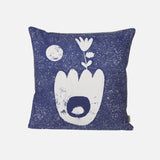 Organic Cotton Cushion Landscape - Blue/Grey/Rose