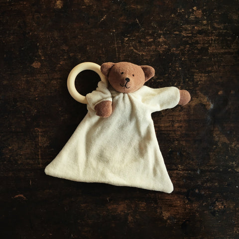Organic Soft Bear Comforter With Wooden Ring