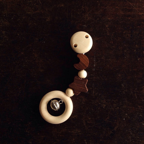 Natural Star And Moon Wood Clip On Mini Mobile With Bell