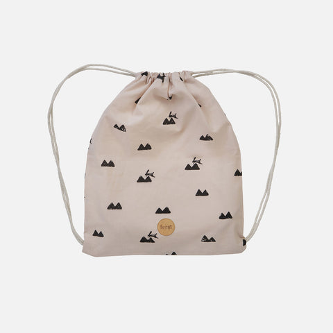 Organic Cotton Gym Bag - Landscape/Mint Dot/Rabbit/Curry Wave