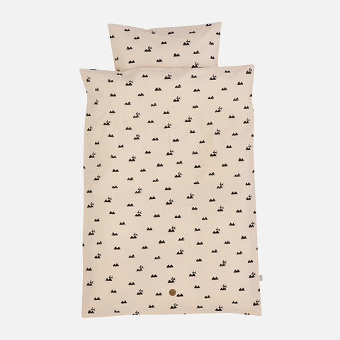 Organic Cotton Duvet & Cushion Cover Rabbit - Rose - Single