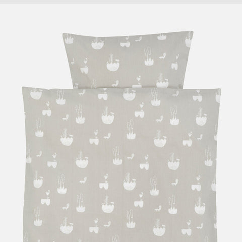 Organic Cotton Duvet & Cushion Landscape Cover - Grey - Single