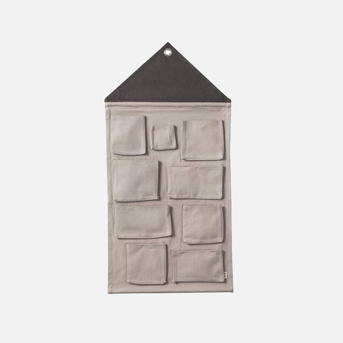 Organic Cotton House Wall Storage - Grey