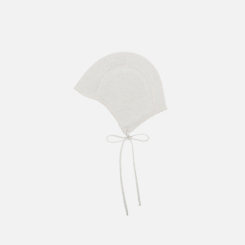 Cotton/cashmere Bonnet - Stone - 0-36m