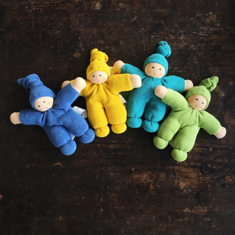 Organic Cotton/Wool Colourfull Friends - Blue, Yellow and Green