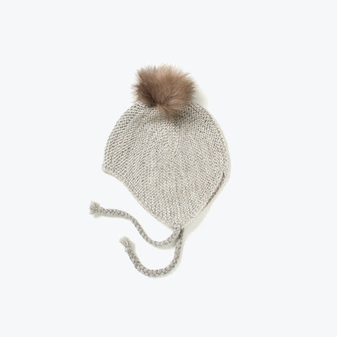 Hand knitted alpaca bonnet with White fur pompom - Grey - 1-3y