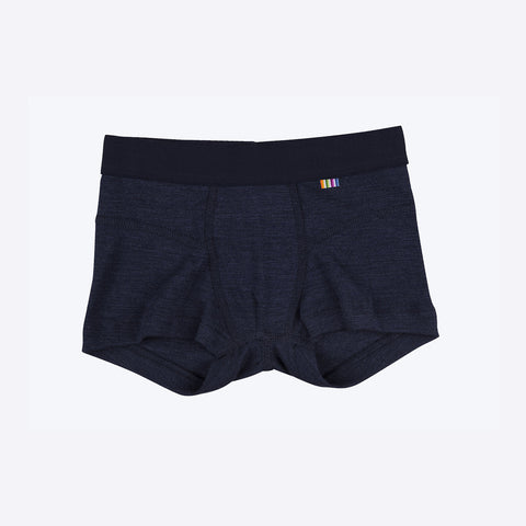 Merino wool/silk Navy boxer shorts 2y-8y