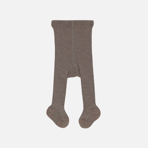 Fine Merino Wool/Cotton Kids Tights - Chocolate - 3-6y