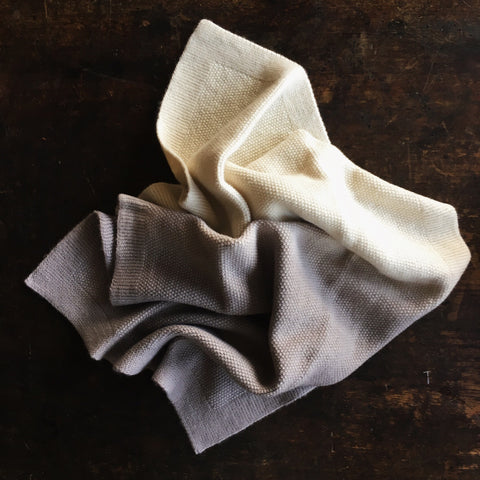 Merino Wool Baby Blanket/Swaddle - Natural Dyes - Natural/Warm Grey