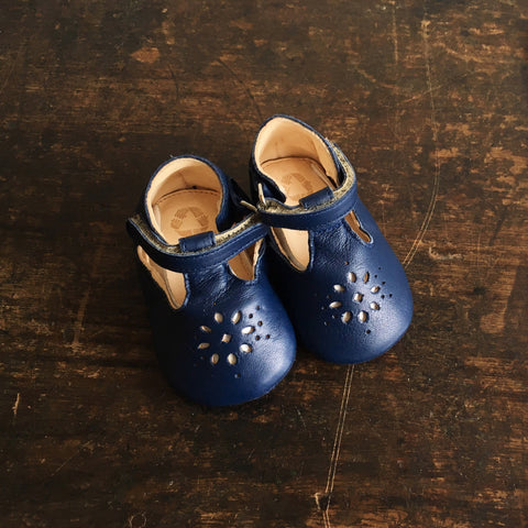 Eco Leather Little Shoes Lily - Navy - 18-24