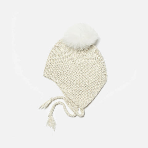 Hand Knitted alpaca Hat With Fur Pompom - Off White - 1-3y