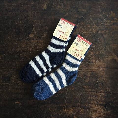 Babies & Kids 100% Wool Socks - Denim Stripe