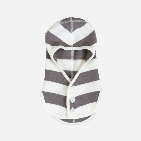 Merino Wool Fleece Balaclava - Iron Brown/White - 4m-5y