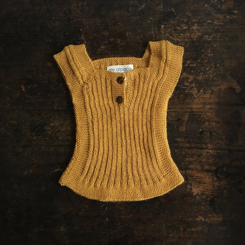 Beautiful Alpaca Rib vest / Body Warmer - Mustard